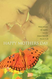 Pkg./100 Butterfly Mother's Day Bulletins. Save 50%.