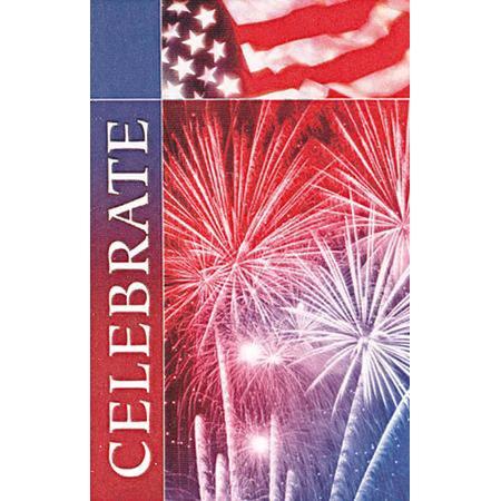 "Patriotic Celebrate Bulletins. Large (8 1/2""x14"") (pkg.100).  Save 50%."