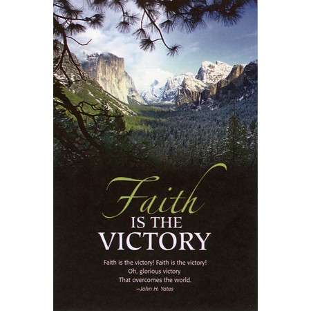 "Faith is the Victory Bulletins. Large (8 1/2""x14"") (pkg.100).  Save 50%."