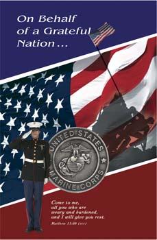 Pkg./100 Marine Funeral Bulletins. Save 50%.