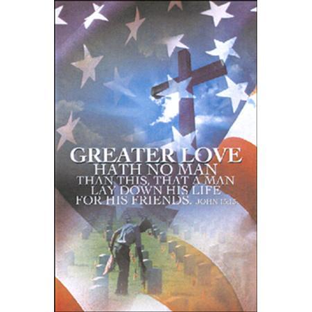 Memorial Day No Greater Love Bulletins (pkg.100).  Save 50%.