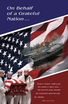 Pkg./100 Navy Funeral Bulletins. Save 50%.