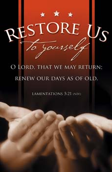 Restore Us To Yourself Bulletins. Pkg./100. Save 50%.