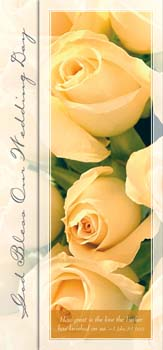Pkg./100 Tea Length Yellow Rose Wedding Bulletins.  Save 50%.