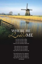 "Where He Leads Me Bulletins. Large (8 1/2""x14"") (pkg.100).  Save 50%."