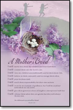 "A Mother's Creed Bulletins. Large (8 1/2""x14"") Pkg./100. Save 50%."